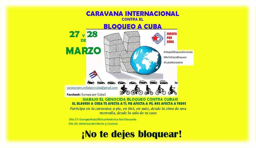 Anuncian más participación en Caravana mundial contra el bloqueo de EE.UU. a Cuba