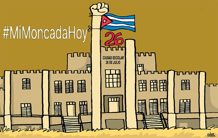 Cuba en permanente Moncada. Caricatura: Trabajadores