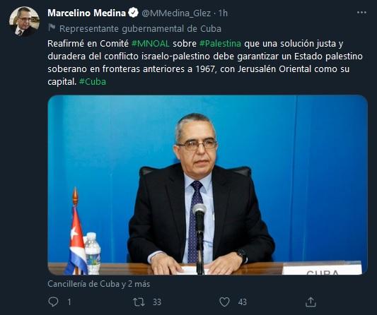 Ratifica Cuba respaldo a Palestina