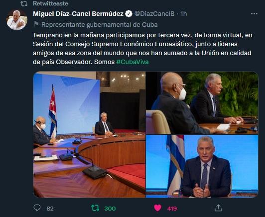 Díaz-Canel en Consejo Supremo Económico Euroasiático: Cooperar es el verbo clave