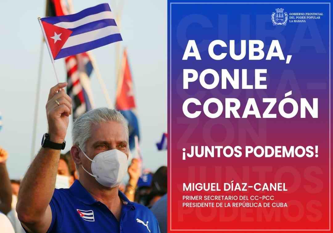 Miguel Díaz-Canel Bermúdez, Presidente de la República de Cuba, afirmó que al lado del pueblo, con el pueblo y por el pueblo, sigue estando la Revolución