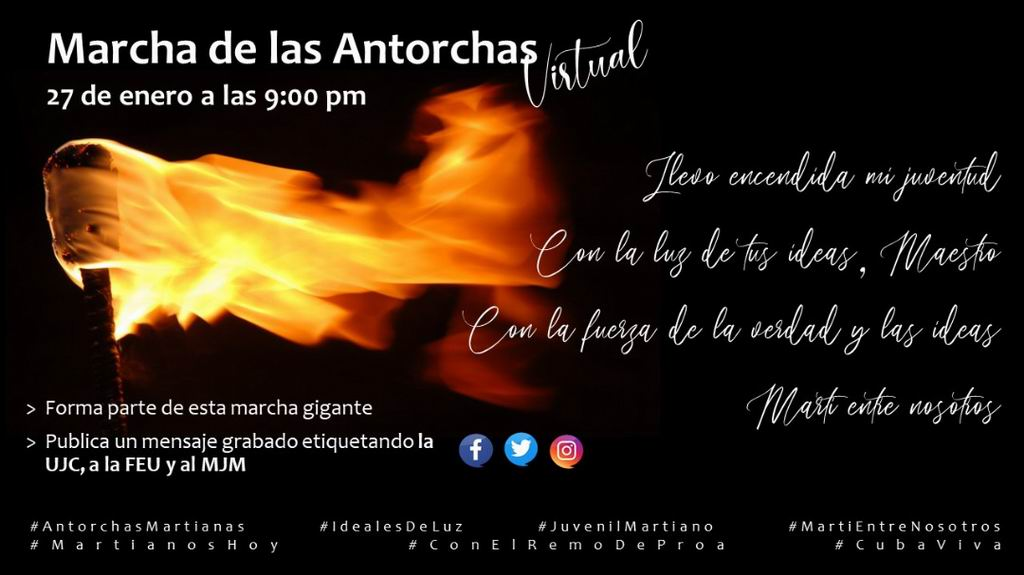 Marcha de las antorchas virtual en saludo al aniversario 168 del natalicio de José Martí