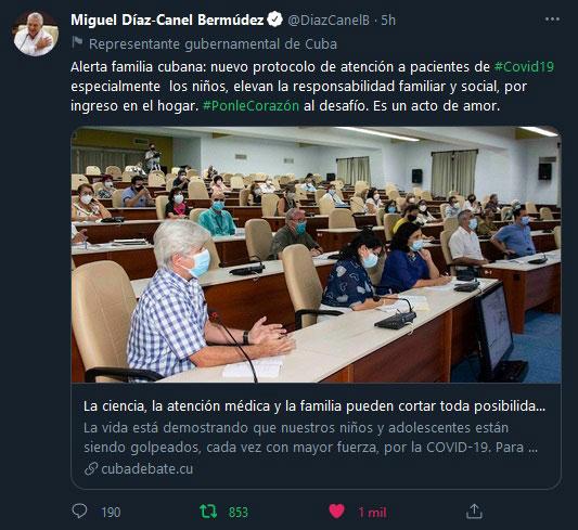 Llama Díaz-Canel a elevar la responsabilidad familiar ante nuevos protocolos contra la COVID-19
