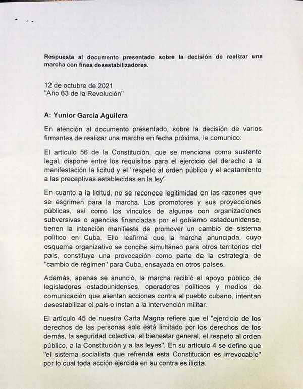 Cuban authorities deny permit requests to march with destabilizing purposes