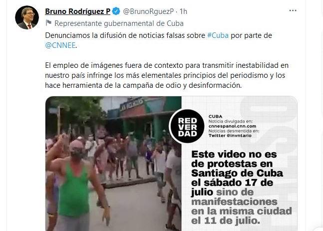 Canciller cubano denuncia difusión de noticias falsas en canal de televisión CNN en español