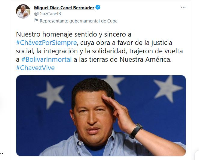 Presidente cubano rinde homenaje a comandante Hugo Chávez
