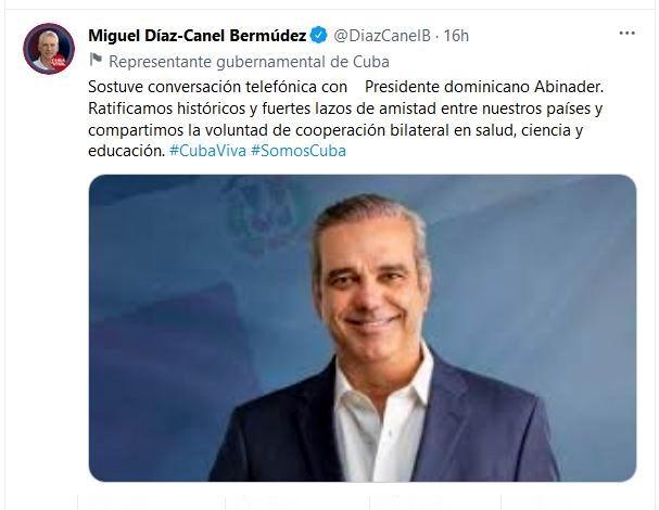 Presidente cubano conversó por teléfono con su par dominicano