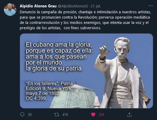 Condena Ministro de Cultura presiones contra artistas cubanos