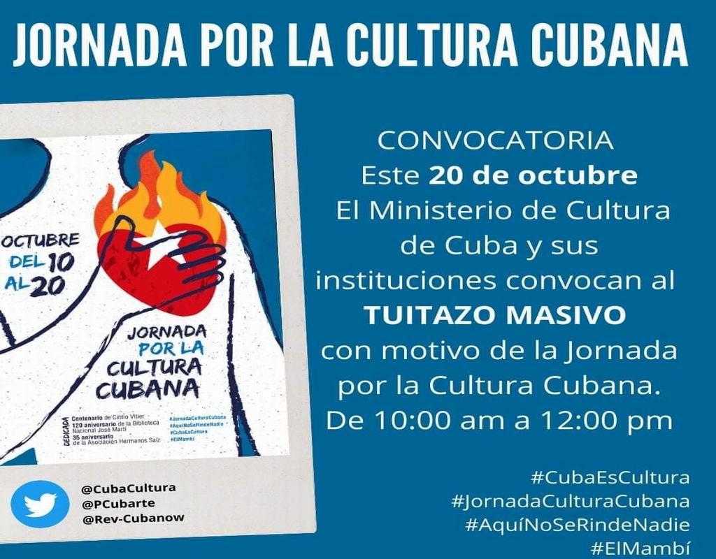 Convocan en Cuba a tuitazo por la Cultura Nacional