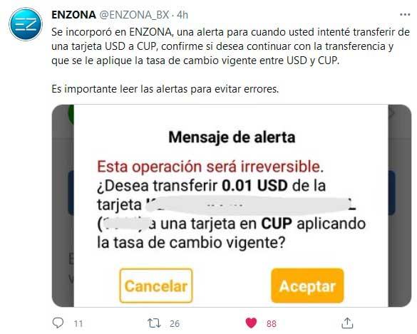 Incorpora Enzona nueva alerta para transferencias entre CUP y USD