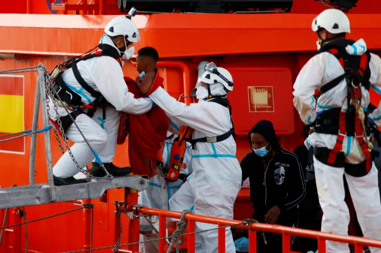 Dozens of migrants rescued off coast of Spain Canary Islands