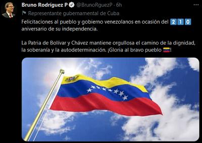 Cuba congratulates Venezuela on its 210th anniversary