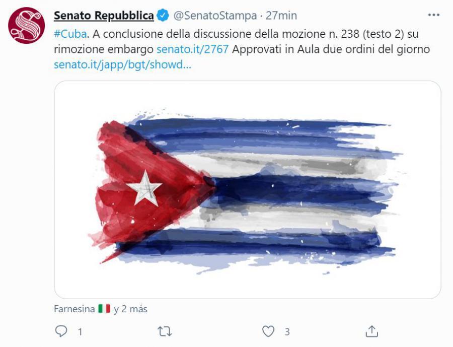 Aprueba el Senado italiano moción contra el Bloqueo a Cuba