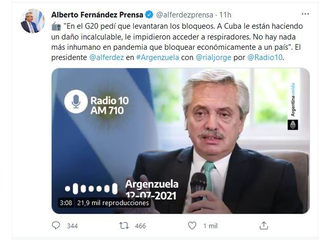 Presidente de Argentina pide terminar los bloqueos contra Venezuela y Cuba
