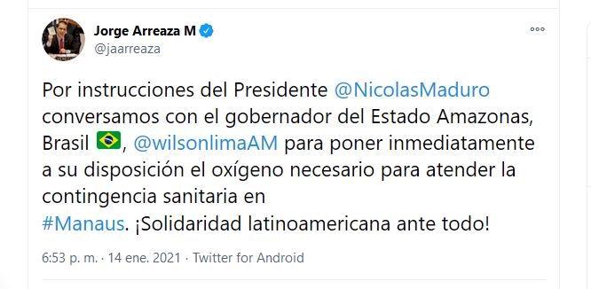 Jorge Arreaza, informó este jueves que el presidente Nicolás Maduro le ordenó comunicarse con las autoridades de Manaos, para poner a su disposición el oxígeno necesario ante el colapso hospitalario