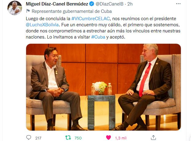 Al término de la Cumbre de la CELAC, el mandatario cubano se reunió con el Presidente Luis Arce Catacora