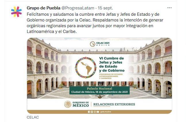 Grupo de Puebla respalda VI Cumbre de Jefes de Estado de la CELAC
