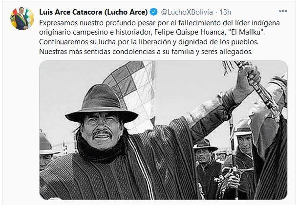 Presidente de Bolivia lamenta deceso de dirigente indígena