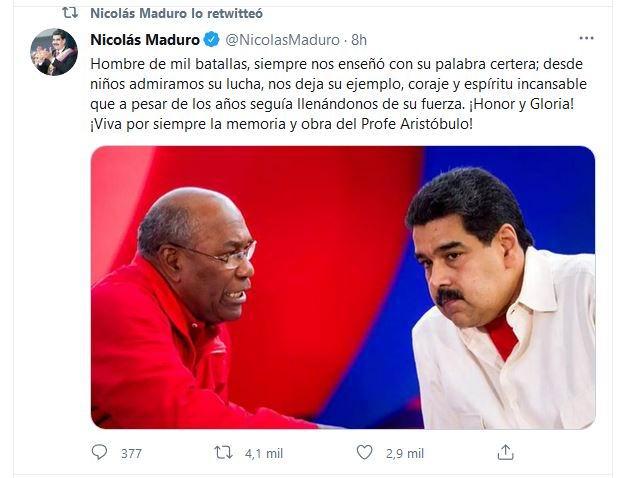 El presidente venezolano Nicolás Maduro, reconoció la labor a favor de la Revolución Bolivariana de Aristóbulo.