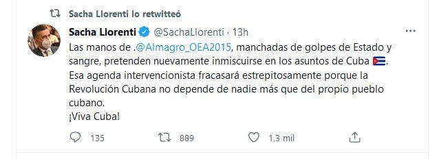Sacha Llorenti, condenó las acciones intervencionistas contra La Habana promovidas desde Washington