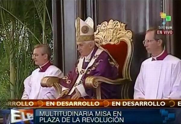 Benedicto XVI en Santa Misa de La Habana, Plaza de la Revolución. Foto Radio Rebelde/Telesur