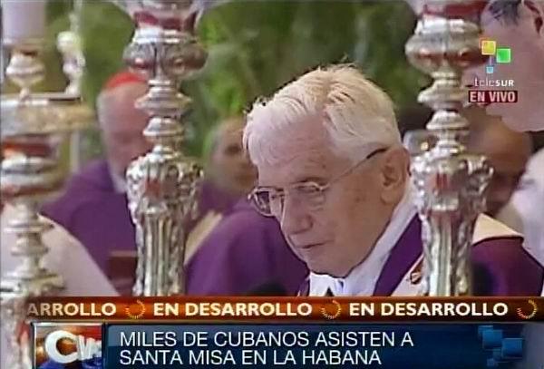 Benedicto XVI oficia Santa Misa en La Habana, Plaza de la Revolución. Foto Radio Rebelde/Telesur