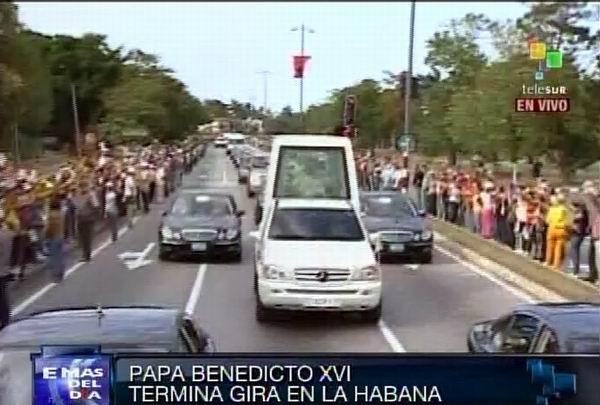 Recorrido del Papa hacia el Aeropuerto Internacional José Martí