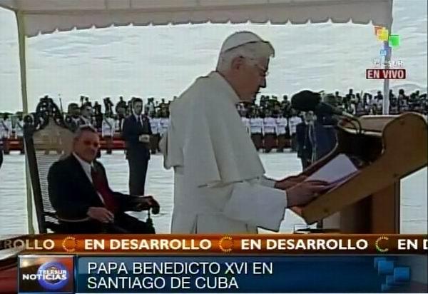 El Papa Benedicto XVI se dirige al pueblo cubano al llegar a Santiago de Cuba este 26 de marzo de 2012. Foto: TeleSUR / Radio Rebelde