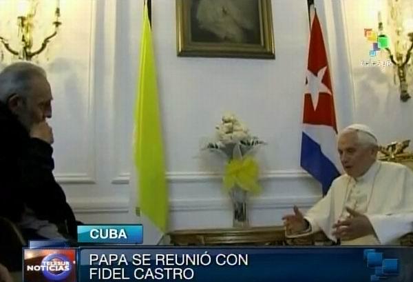 Sostiene Fidel Castro encuentro con Benedicto XVI. Foto: TeleSUR / Radio Rebelde