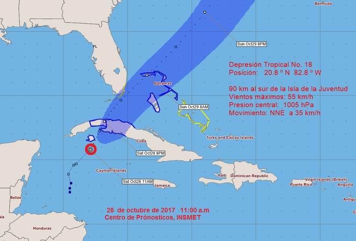Aviso de ciclón tropical sobre depresión tropical próxima a Cuba