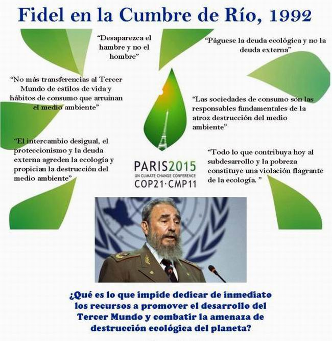 Fidel Castro pronunció un trascendental discurso durante la Conferencia de Naciones Unidas sobre Medio Ambiente y Desarrollo