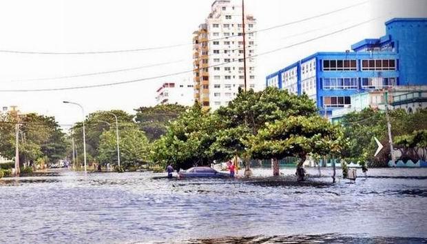 Inundaciones costeras en litoral habanero. Foto: José Manuel Correa