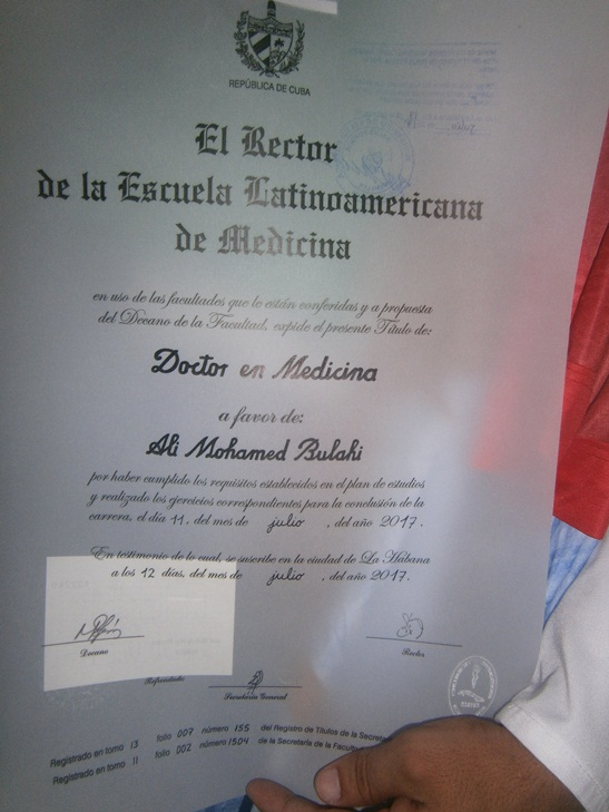 Nuevo doctor Saharaui agradece a Fidel