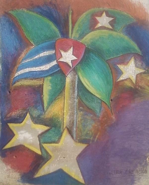 Una estilizada palma real, símbolo de cubanía, con filosas y puntiagudas hojas, y cinco estrellas sobresalen en el multicolor mural que engalana la Secundaria Básica José Martíde, dicado a los antiterroristas cubanos.