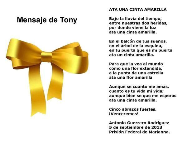 Ata una cinta amarilla, poema de Antono Guerrero. Fotomontaje:Sara