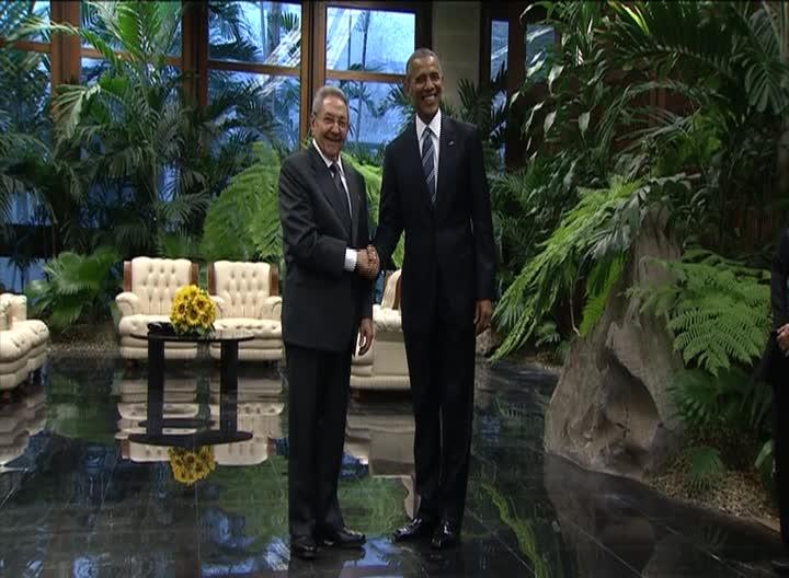Raúl Castro recibió a Barack Obama en el Palacio de la Revolución