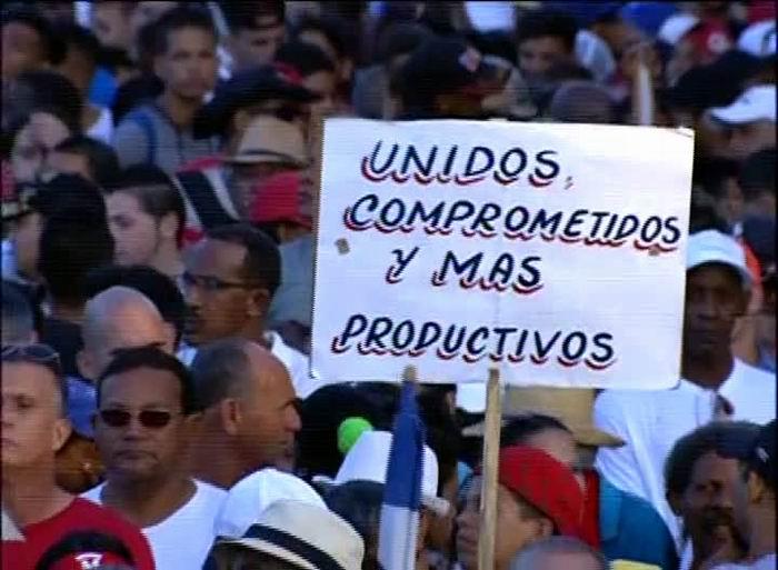 Primero de Mayo en la Plaza de la Revolución José Martí. Unidos y productivos