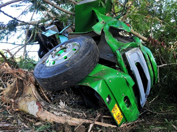 El accidente ocurri� en el kil�metro 228 de la Autopista Nacional. Foto: Juan Carlos Dorado