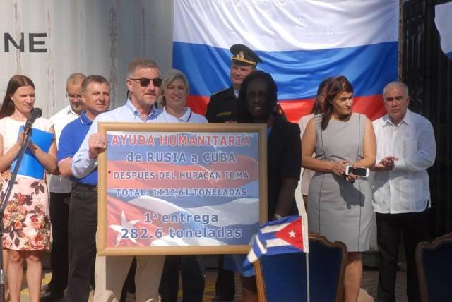 Arriba a Cuba primer donativo ruso por huracán Irma