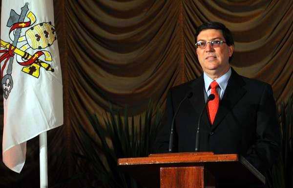 El canciller cubano, Bruno Rodríguez Parrilla, durante una conferencia de prensa ofrecida en la inauguración del Centro de Prensa Internacional con motivo de la visita apostólica a Cuba de su Santidad Benedicto XVI