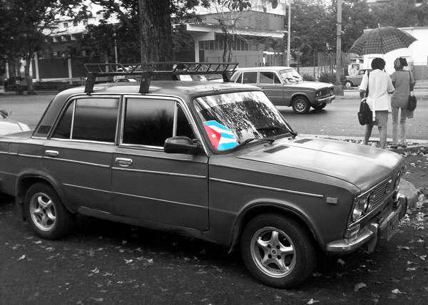 Bandera cubana en las calles de La Habana