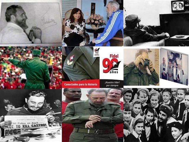 Collage de fotos Fidel 90. Cortesía de la Asociación de Pedagogos de Cuba (APC).