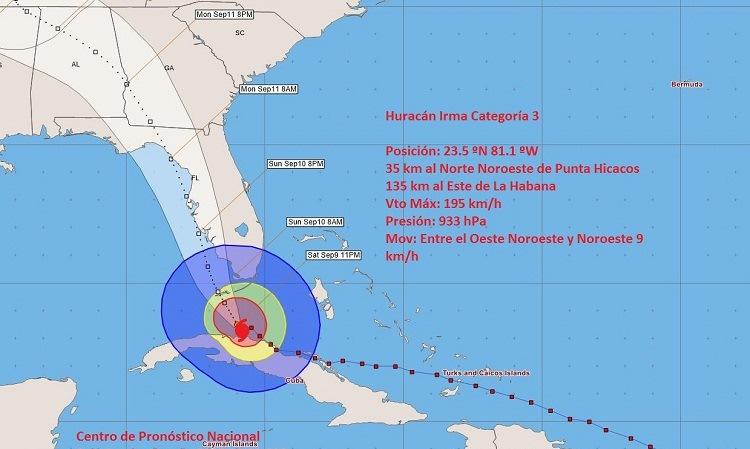 Irma se mueve lentamente sobre el norte de Matanzas