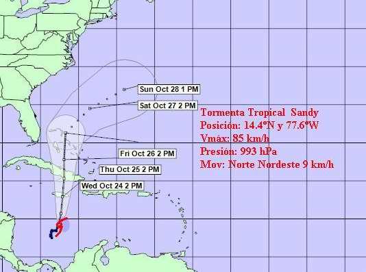 Cono de trayectoria de la Tormenta tropical Sandy a las seis de la tarde. Foto Instituto de Meteorología