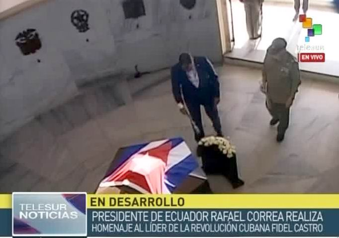 Ecuadoran President paid homage to Fidel and Marti