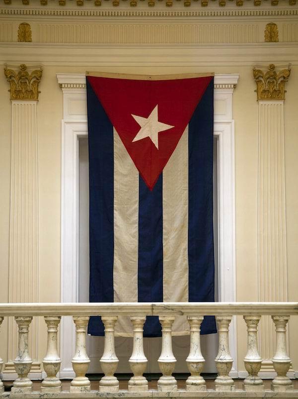 Bandera cubana que fue arriada el 3 de enero de 1961 cuando la Casa Blanca cortó sus nexos con La Habana