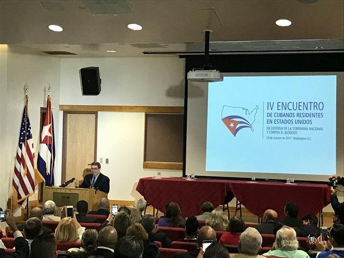 El canciller Bruno Rodríguez Parrilla, asistió este sábado a la clausura del IV Encuentro de Cubanos Residentes en Estados Unidos en Defensa de la Soberanía Nacional y Contra el Bloqueo