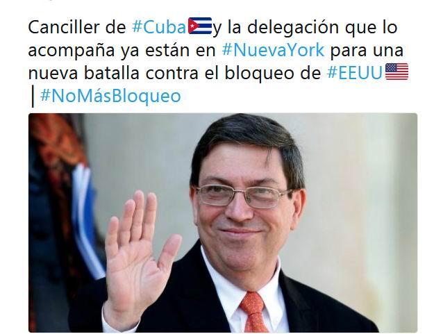 Canciller cubano llega a Nueva York para votación en la ONU contra bloqueo