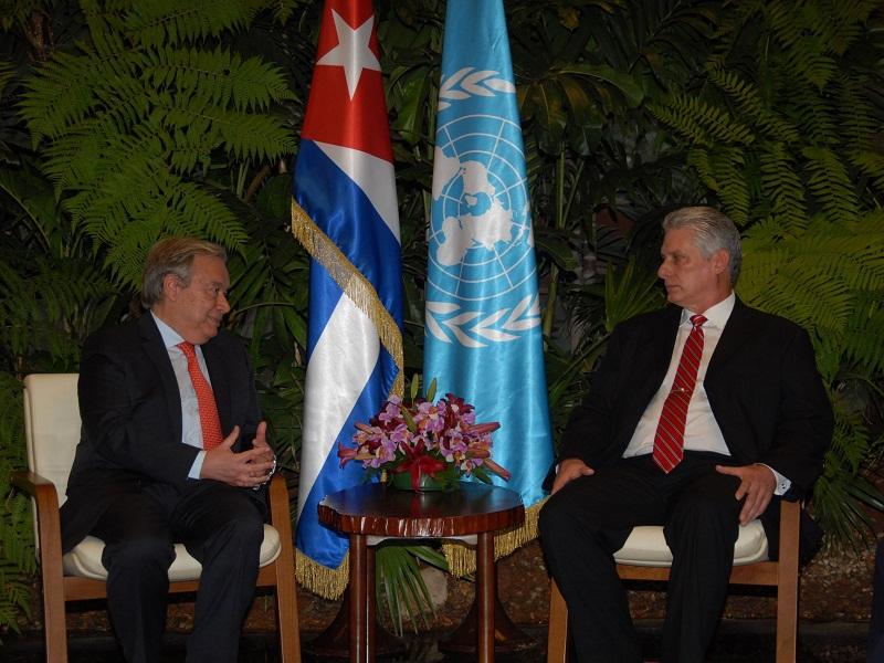 Recibió Díaz-Canel al Secretario General de la ONU