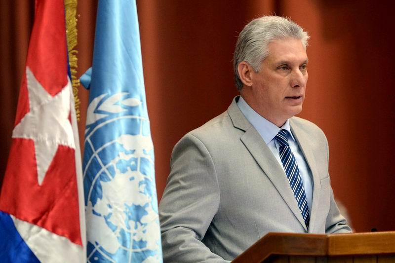 Miguel Díaz-Canel Bermúdez, Presidente de los Consejos de Estado y de Ministros, clausura la ceremonia de inauguración del XXXVII período de sesiones de la Comisión Económica para América Latina y el Caribe (CEPAL), en el Palacio de Convenciones de La Habana, Cuba, el 8 de mayo de 2018. ACN FOTO/ Abel PADRÓN PADILLA/ rrcc